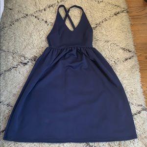 Asos Navy Crisscross Backless Midi Dress